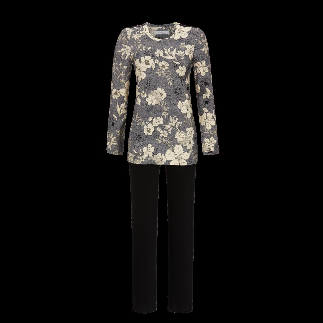 Pyjama mit Blütendessin grau-melange | 36