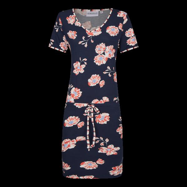Kleid mit Tunnelzug und Bindeband dark navy | 40