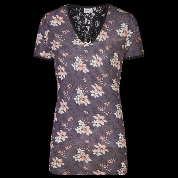 T-Shirt mit Spitzeneinsatz im Rückenteil bunt | 36