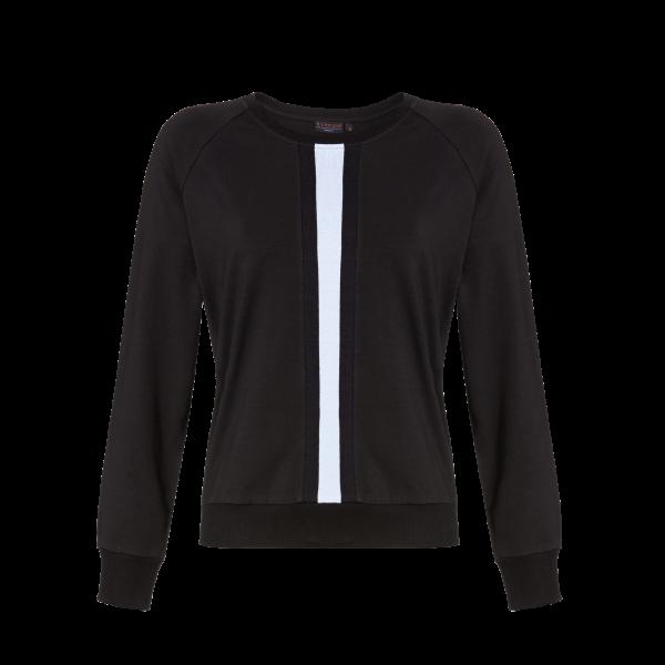 T-Shirt mit Strickbündchen schwarz   38