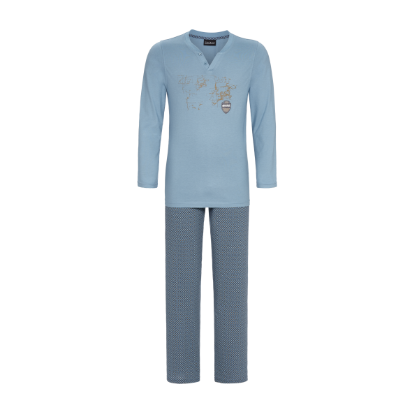 Pyjama mit Motivdruck asia blue | 48