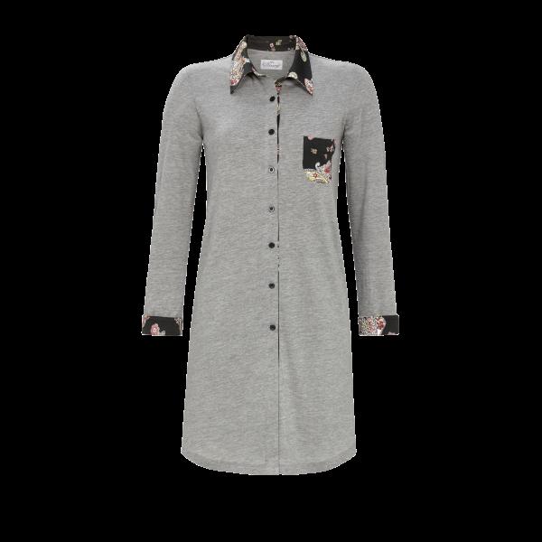 Nachthemd mit durchgehender Knopfleiste grau-melange | 44