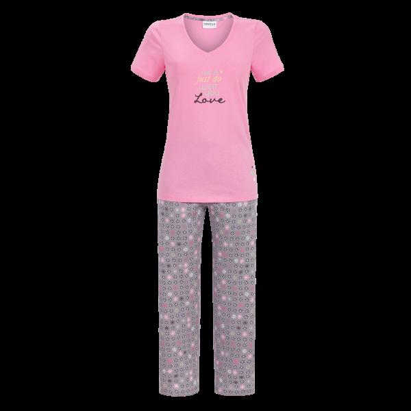 Pyjama mit 7/8 Hose pastell-pink | 40