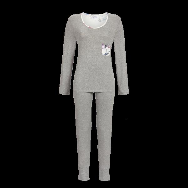 Pyjama mit Rosendessin grau-melange | 40