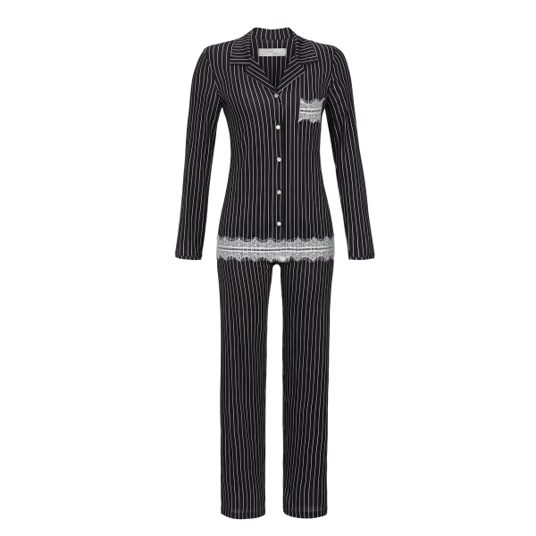 Pyjama mit Nadelstreifen anthrazit | 48