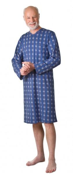 Herren Pflegehemd 1/1 Arm graublau | L