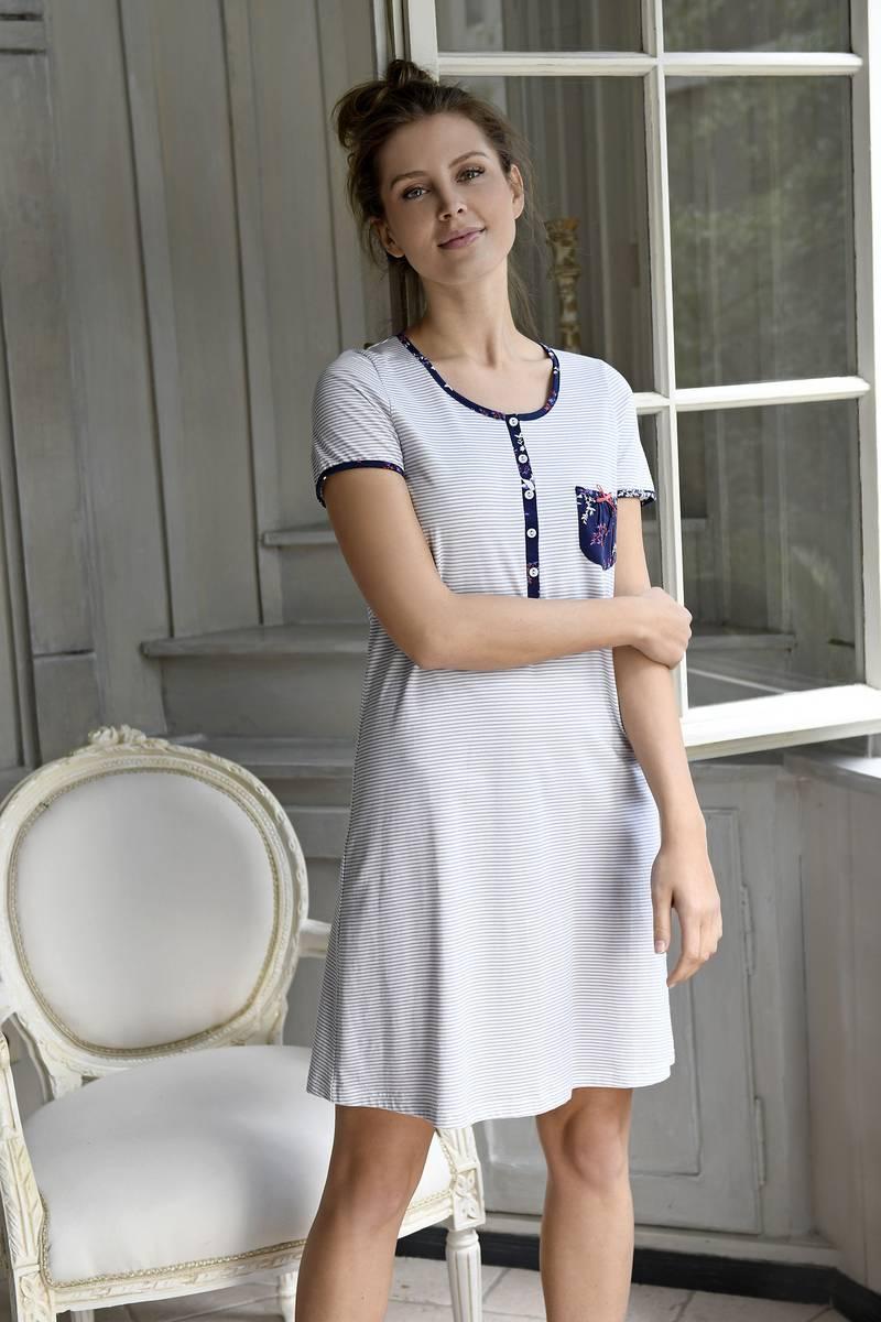 Nachthemd mit Knopfleiste marine | 44