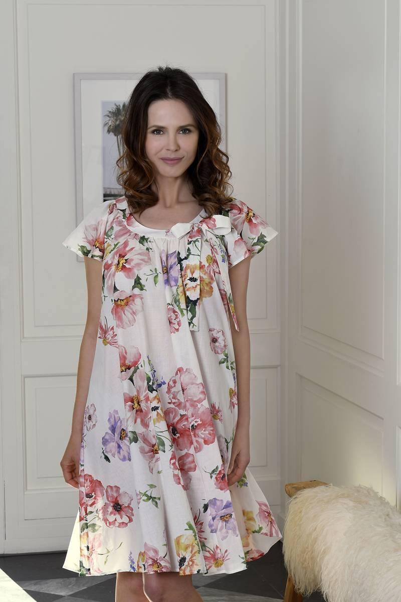 Nachthemd mit Blumendessin off-white | 36