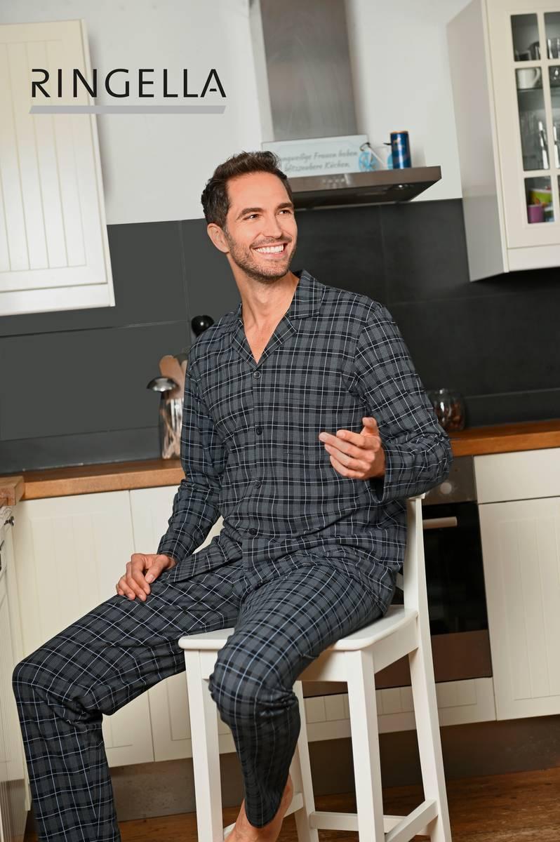 Pyjama mit durchgeknöpftem Oberteil asphalt | 50