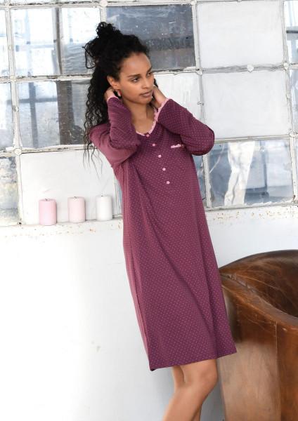 Nachthemd mit Knopfleiste purple wine | 36