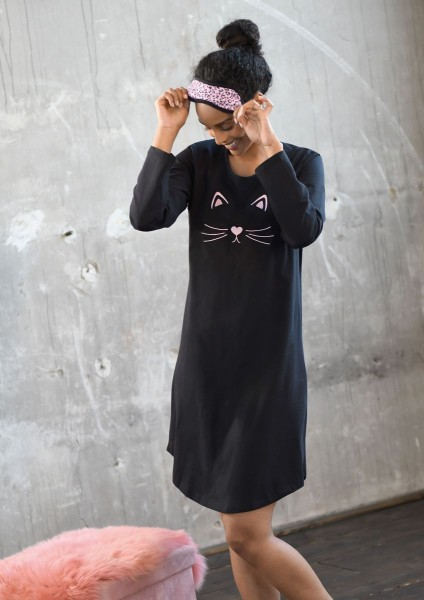 Nachthemd mit Stickereimotiv schwarz | 36