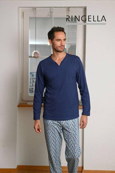 Pyjama mit bedruckter Hose marine   48