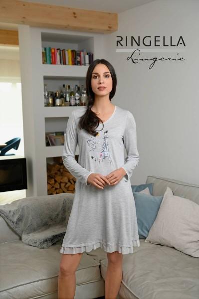 Nachthemd mit V-Ausschnitt grau-melange | 36
