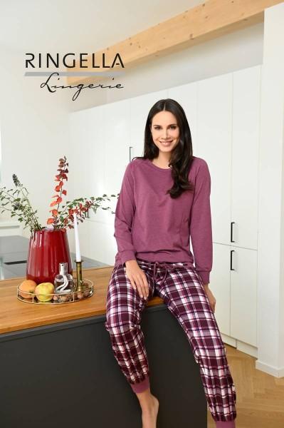 Pyjama mit Strickbündchen rosenholz   36