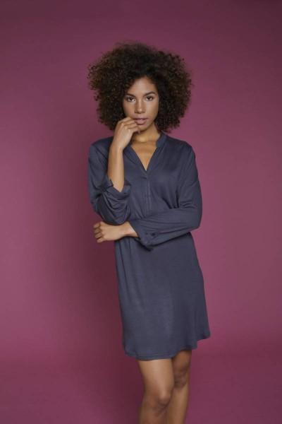 Kleid mit V-Ausschnitt anthrazit | 44