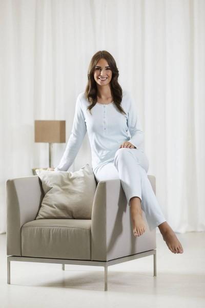Pyjama mit Knopfleiste helle lagune | 38